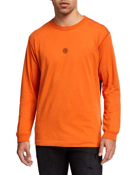 Stone Island Men's Solid Crewneck Long-Sleeve T-Shirt w/ Logo Patch