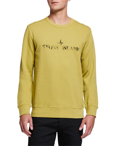 Stone Island Men's Faded Logo Crewneck Sweatshirt