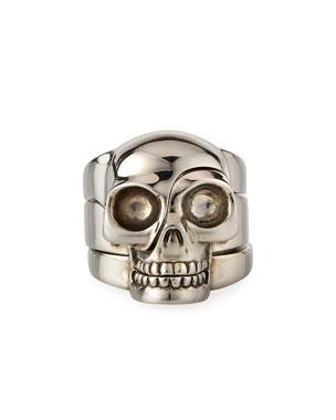 d4c2296bb8ad Alexander McQueen Men's Three-Row Divided Skull Ring