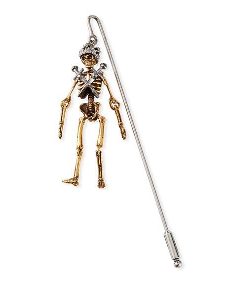 Alexander McQueen Men's King Skeleton Lapel Pin