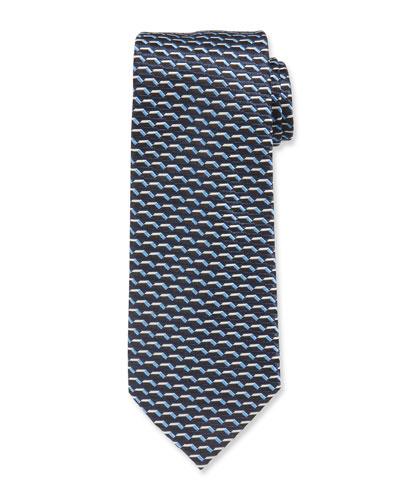3D Dash Silk Tie  Blue