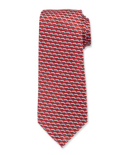 3D Dash Silk Tie  Red/Blue