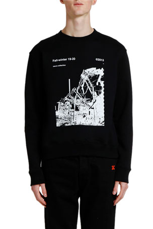 Off-White Men's Ruined Factory Graphic Crewneck Sweatshirt