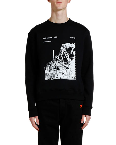 Off-White Men's Ruined Factory Graphic Crewneck Sweatshirt