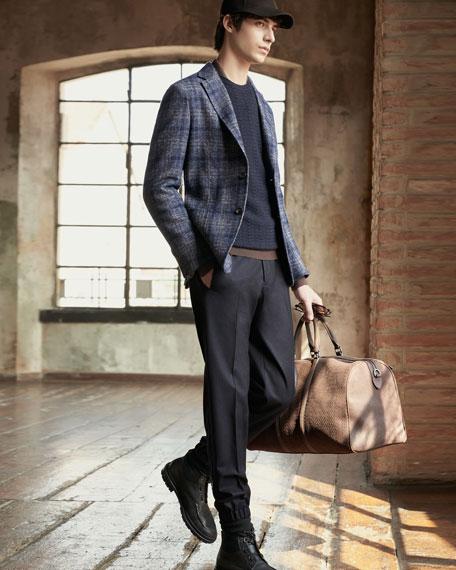 Ermenegildo Zegna Men's Textured Wool/Cashmere Crewneck Sweater