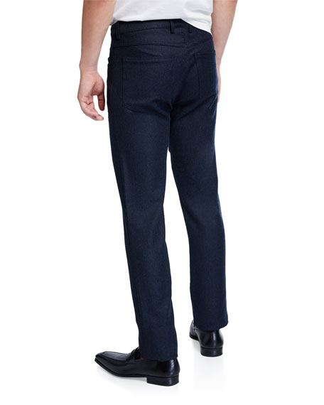 Canali Men's Birdseye Flannel Straight-Leg Pants, Navy Blue