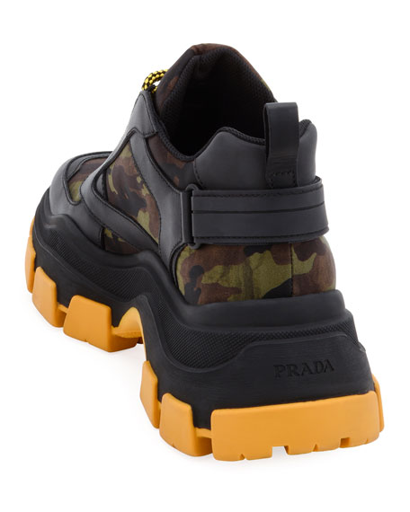 Prada Men's Pegasus Camo & Leather Chunky Sneakers
