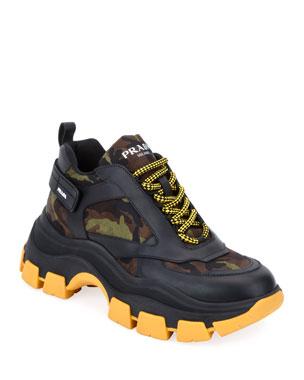 f383ce550b30b Prada Men's Pegasus Camo & Leather Chunky Sneakers