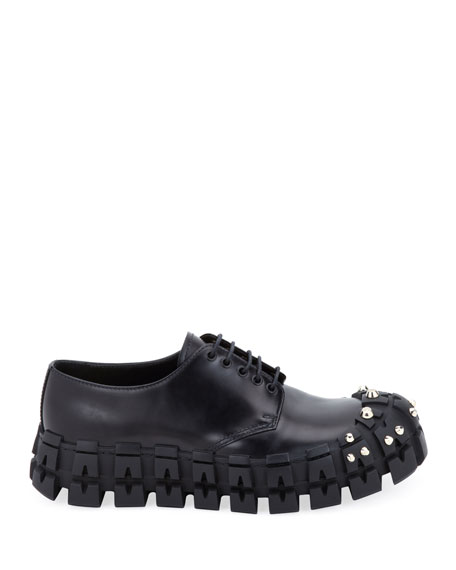 Prada Men's The Wheel Tire Lug-Sole Derby Shoes