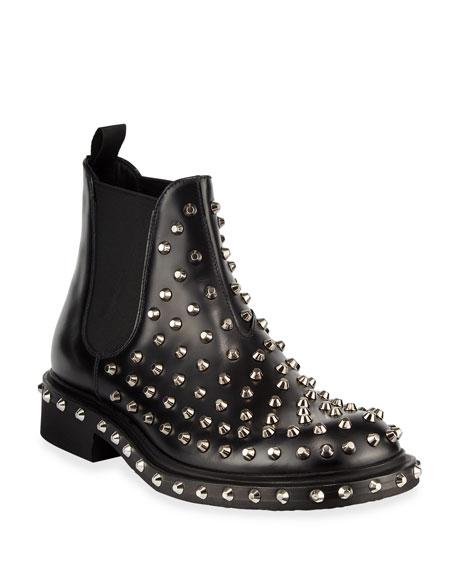 Prada Men's Tronchetti Studded Leather Chelsea Boots