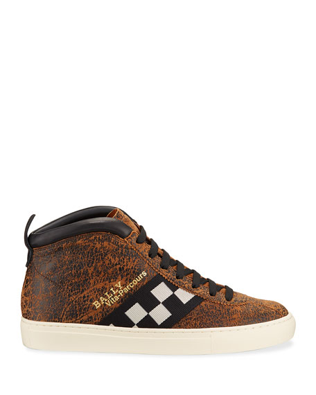 Bally Men's Vita Parcours Distressed Leather Checkerboard Sneakers