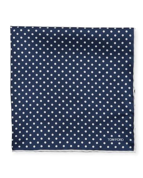 TOM FORD Men's Dotted Silk Pocket Square, Navy/White