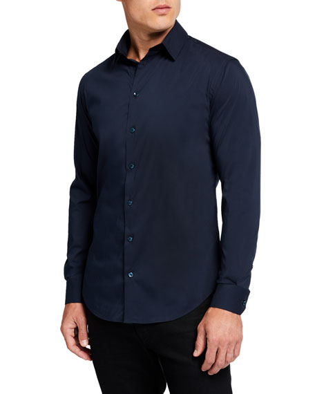 Giorgio Armani Men's Basic Sport Shirt, Navy