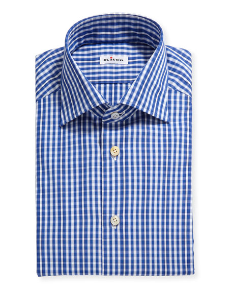 Image 1 of 2: Kiton Men's Check Cotton Dress Shirt