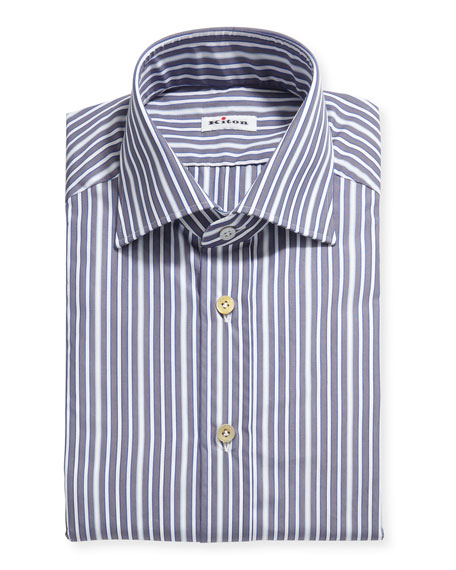 Image 1 of 2: Kiton Men's Multi-Stripe Cotton Dress Shirt