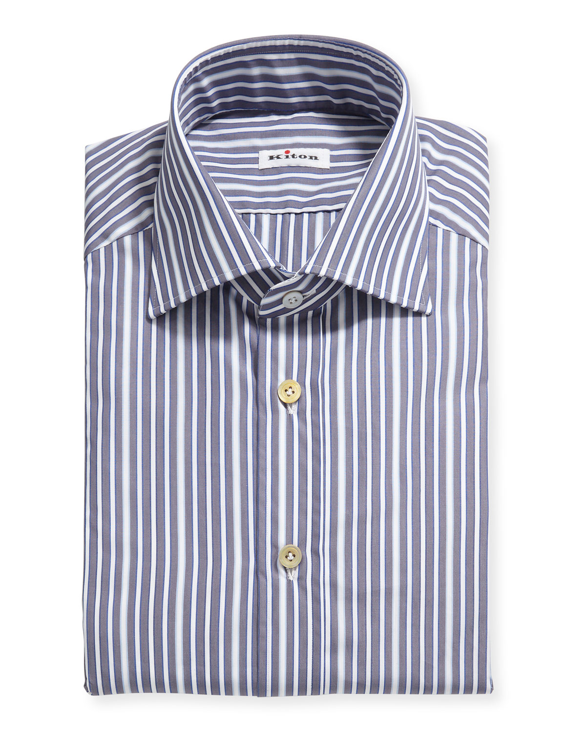 Kiton Men's Multi-Stripe Cotton Dress Shirt