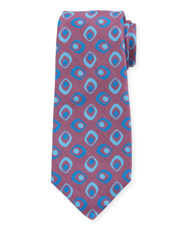 Kiton Napoli Mens Red with Geometric Motif Seven Fold Handmade Silk Necktie