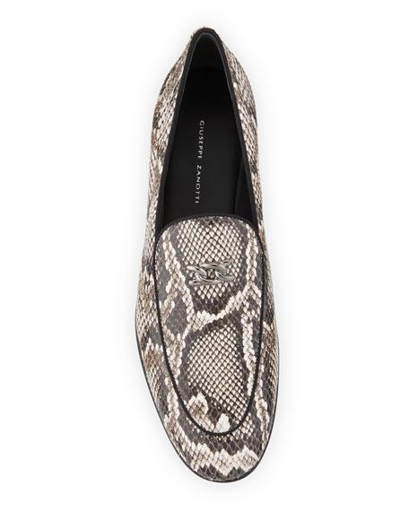 Giuseppe Zanotti Men's Snake-Embossed Leather Loafers