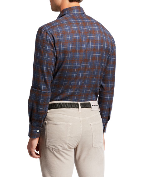 Kiton Men's Plaid Sport Shirt
