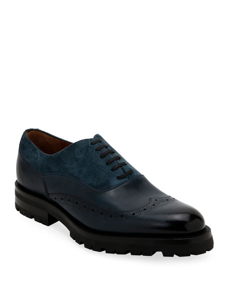 Bally Men's Leather & Suede Lugged Oxford Shoes