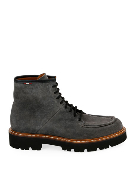 Bally Men's Lybern Chunky Suede Lace-Up Boots