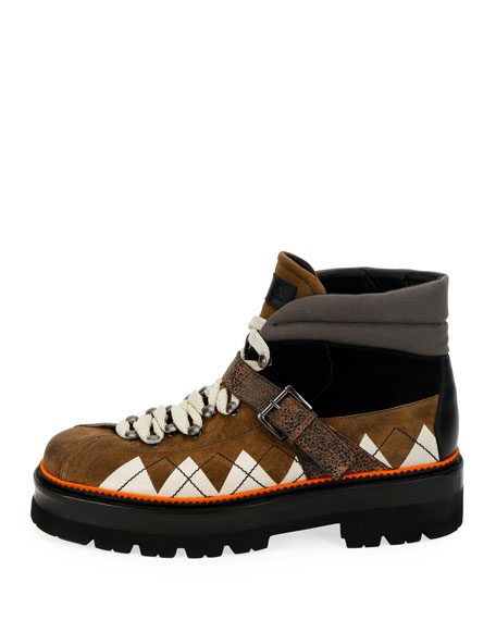 Bally Men's Manilo Graphic-Trim Leather Hiking Boots