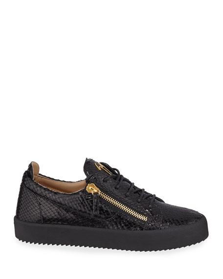 Giuseppe Zanotti Men's Mimas Embossed Leather Double-Zip Sneakers