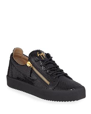 c4fb3a5f2ad0c Giuseppe Zanotti Men's Mimas Embossed Leather Double-Zip Sneakers