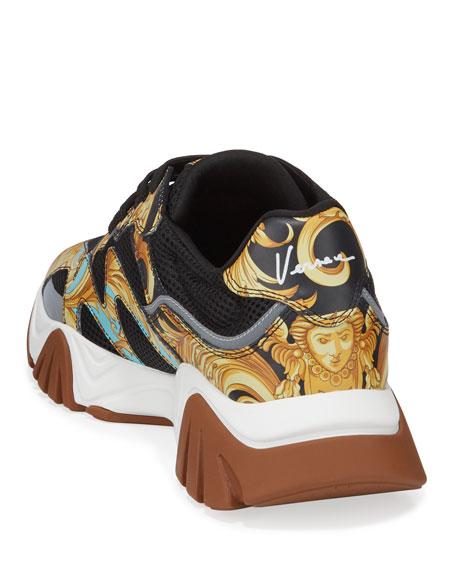 Versace Men's Squalo Mesh & Baroque-Print Leather Sneakers