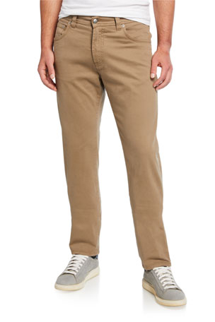 Neiman Marcus Men's Brushed Cotton 5-Pocket Pants, Khaki