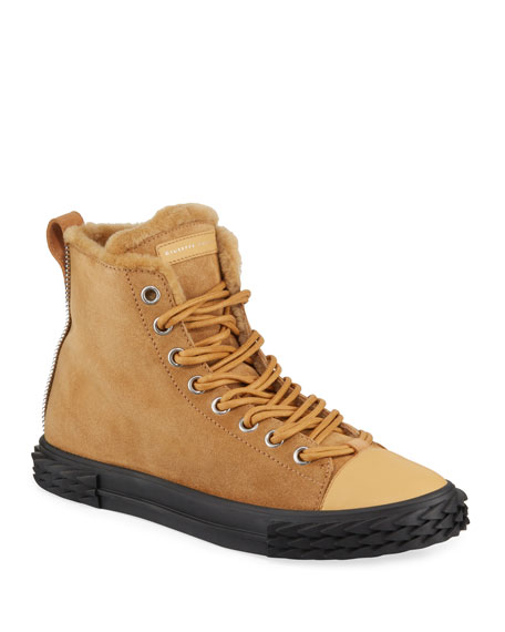 Giuseppe Zanotti Men's Blabber Suede High-Top Sneakers with Fur Lining
