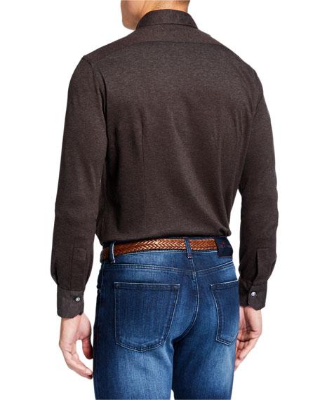 Kiton Men's Knit Sport Shirt, Brown
