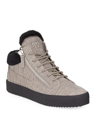 7fa0daded66d4 Giuseppe Zanotti Men's Crocodile-Print Shearling-Lined Leather Mid-Top  Sneakers