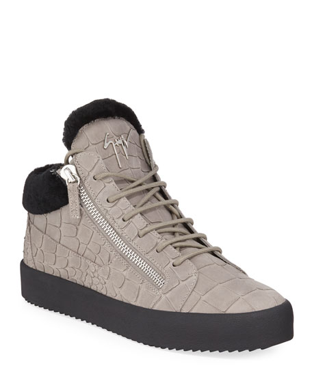 Giuseppe Zanotti Men's Crocodile-Print Shearling-Lined Leather Mid-Top Sneakers