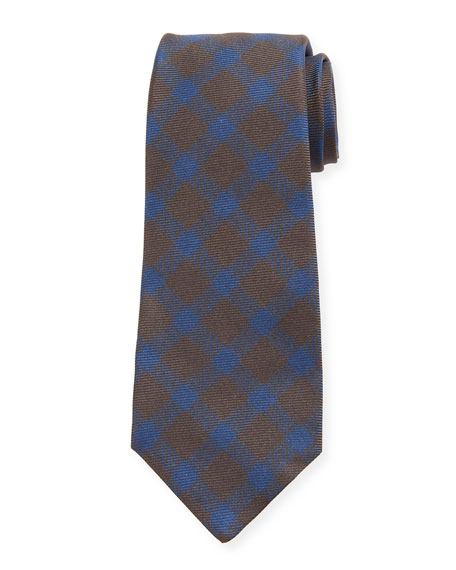 Kiton Ties GINGHAM CHECK SILK TIE, BROWN