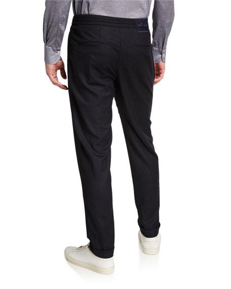 Kiton Men's Tonal Check Jogger Pants
