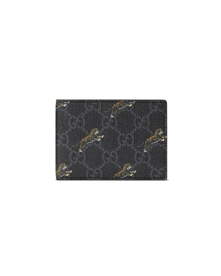 70469c7b Men's Gg Supreme Tiger-Print Wallet in Black