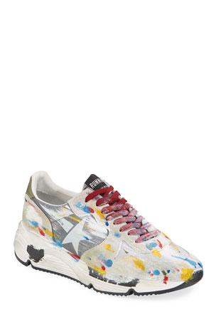 Golden Goose Men's Paint-Splatter Suede Running Sneakers