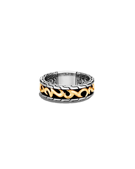 John Hardy Men's Classic Chain 7mm Ring in 18K Yellow Gold & Sterling Silver, Size 9-12