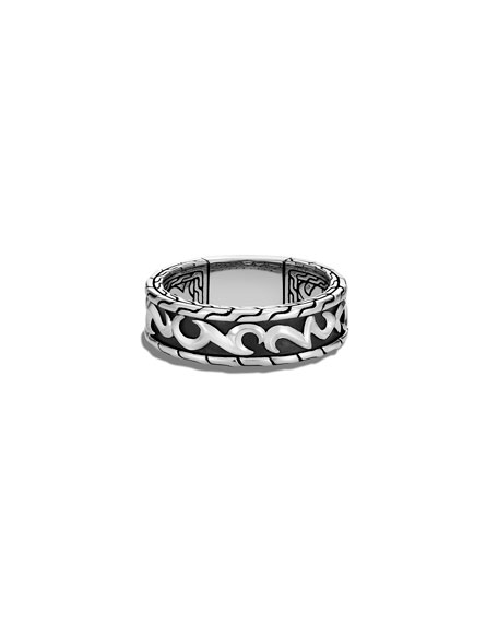 John Hardy Men's Classic Chain 18K Gold & Silver Ring with Damascus Steel, Size 9-12