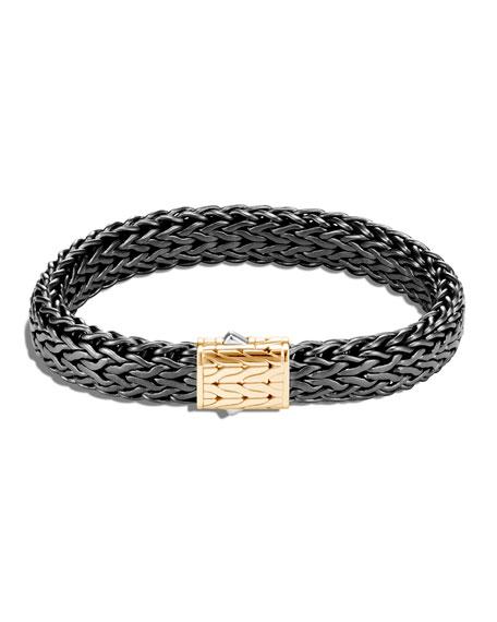 John Hardy Men's Classic Chain Flat Sterling Silver Bracelet w/ Black Rhodium & 18k Gold