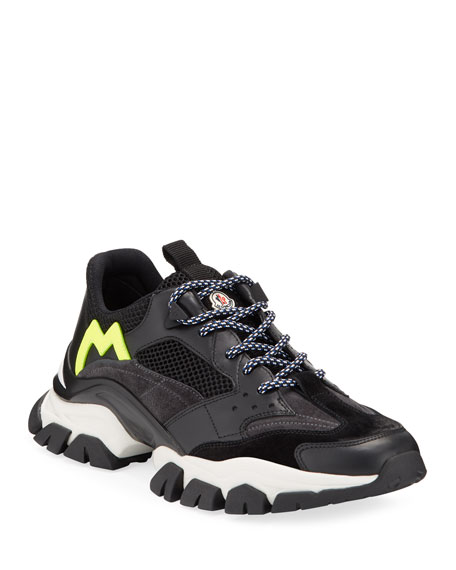 Moncler Men's Leave No Trace Mesh & Leather Trainer Sneakers