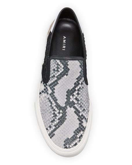 Image 2 of 3: Men's Multi Python-Embossed Leather Slip-On Sneakers