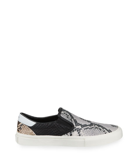 Image 3 of 3: Men's Multi Python-Embossed Leather Slip-On Sneakers