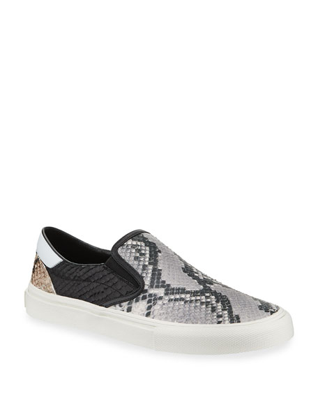 Image 1 of 3: Men's Multi Python-Embossed Leather Slip-On Sneakers