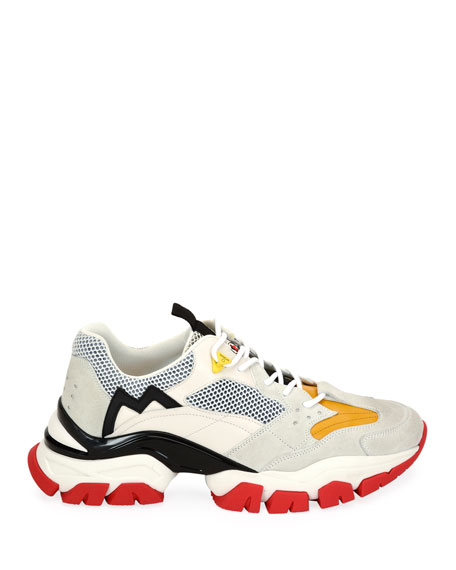 Moncler Men's Leave No Trace Colorblock Mesh & Leather Sneakers
