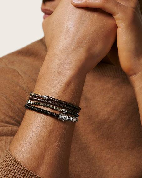 John Hardy Men's Classic Chain Multi-Row Beaded Leather Wrap Bracelet, Size M-L