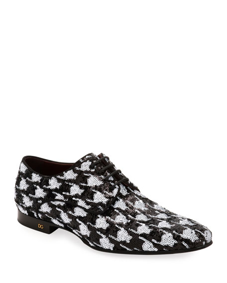 Dolce & Gabbana Men's Two-Tone Patterned Sequin Derby Shoes