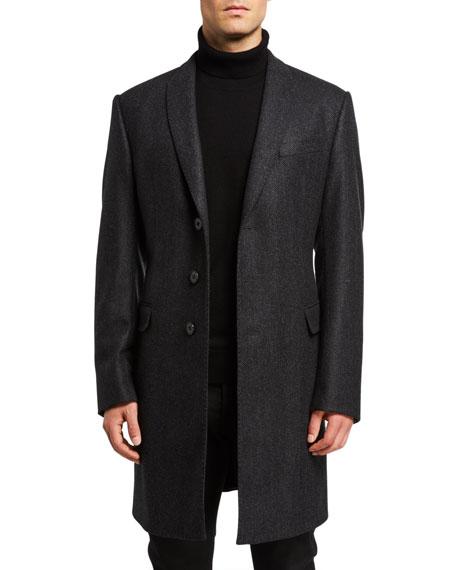Emporio Armani Men's Herringbone Wool-Cashmere Topcoat