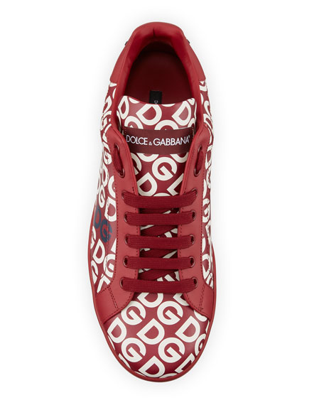 Dolce & Gabbana Men's Portofino Logo Mania Leather Low-Top Sneakers